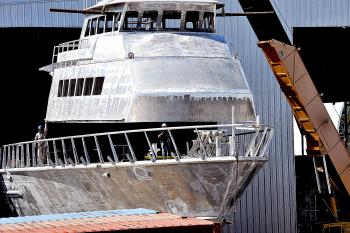 Swiftships began fabricating this 175-foot fast supply vessel seven months ago and, on Friday, started installing the cabin on the vessel, which is expected to be ready for delivery by the spring 2014.