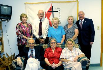 The longest members of Patterson United Methodist Church include, front row, from left, Hugh C. Brown, Ellen Scott and Ann McMurray. Standing, from left, are Peggy Darce, Cleo Scott, Cary Rentrop, Linda Crappell and Ernest McMurray. Each has been a member of the church for more than 50 years. The church celebrated its 200th anniversary Sunday.