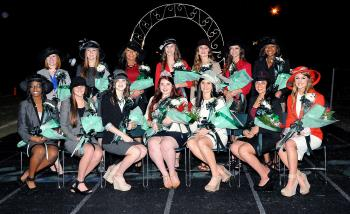 The Morgan City High School homecoming court was presented at halftime of Friday's game against Ellender. They are, seated from left, Deja Brown, Taylor Prince, Layne Reynaud, queen Nicole Perri, Kloe Liner, Grace Dragna and Savannah Loupe. Standing, from left, are Kaitlyn Verret, Chandler Pasqua, Brianna Ramagos, Courtney Reynaud, Marilynn Bailey, McKenna Aloisio and Tieriana Weary.