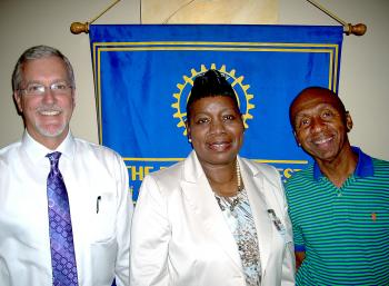Morgan City Rotary Club members learned of the nutrition changes being implemented in parish schools from Mary Grimm-Howard, Child Nutrition Program supervisor for the St. Mary Parish School Board, at a recent luncheon. From left are Rotary Club President Donald Stephens, Grimm-Howard, and Program Director Herman Hartman.