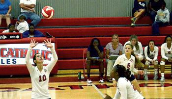 Morgan City, Central Catholic and Berwick all were victorious Tuesday in local volleyball action. Morgan City defeated Patterson in straight sets in both teams' district opener, while Berwick also defeated Donaldsonville in straight sets in their district opener. Meanwhile, Central Catholic knocked off Ascension Episcopal, the top ranked team in Division 5, which the Lady Eagles compete in. Above, Central Catholic's Kaitlyn Gros sets while teammate Meo Knight makes an approach during earlier season action.