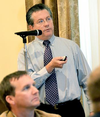 Jerome Zeringue, executive director of the Louisiana Coastal Protection and Restoration Authority, speaks during Monday's St. Mary Industrial Group meeting at the Petroleum Club of Morgan City.