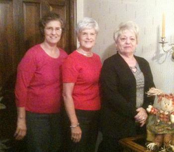 Co-hostesses for the Patterson Garden Club Oct. 8 meeting were, from left, Evelyn Estay, Iris Roy and Sandra Underwood.