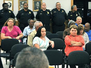 A packed council chamber included 22 uniformed Patterson police officers looking for the council to resume a policy allowing officers who live outside of the city limits to bring their units home with them. A motion for a resolution allowing that practice died due to the lack of a second near the conclusion of a two-hour Patterson City Council meeting Tuesday night.