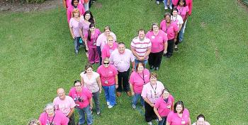 """Teche Regional Medical Center employees wore pink shirts on Oct. 1 to show support for Breast Cancer Awareness month. Each year thousands of women survive breast cancer, said Sabrina B. Roy, Teche director of marketing and public relations. """"That's thanks in part to an increasing number of women having mammograms, which is the best means of early detection,"""" she said."""